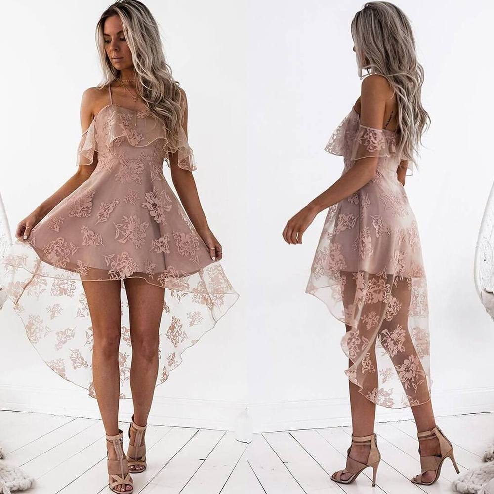 566cbe00967 Off Shoulder High Low Dusty Pink Lace Homecoming Dresses 2018, CM440 from  OkBridal