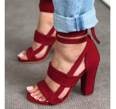 5e26c891b83 Mandy Peep Toe Chunky Heel Sandals on Storenvy