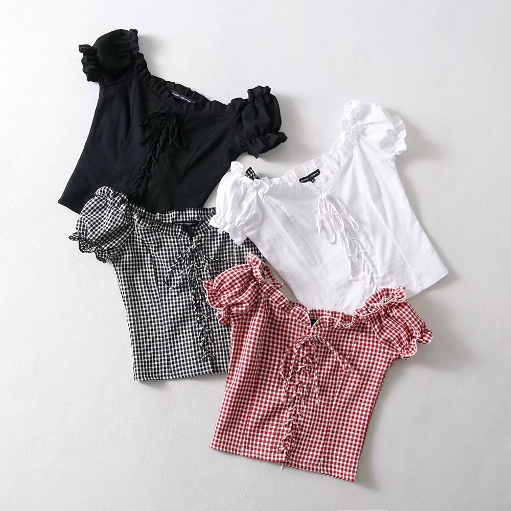 9b6dd1527232 ... XS S M white black red gingham short puff sleeve off shoulder pin-up top  button ...