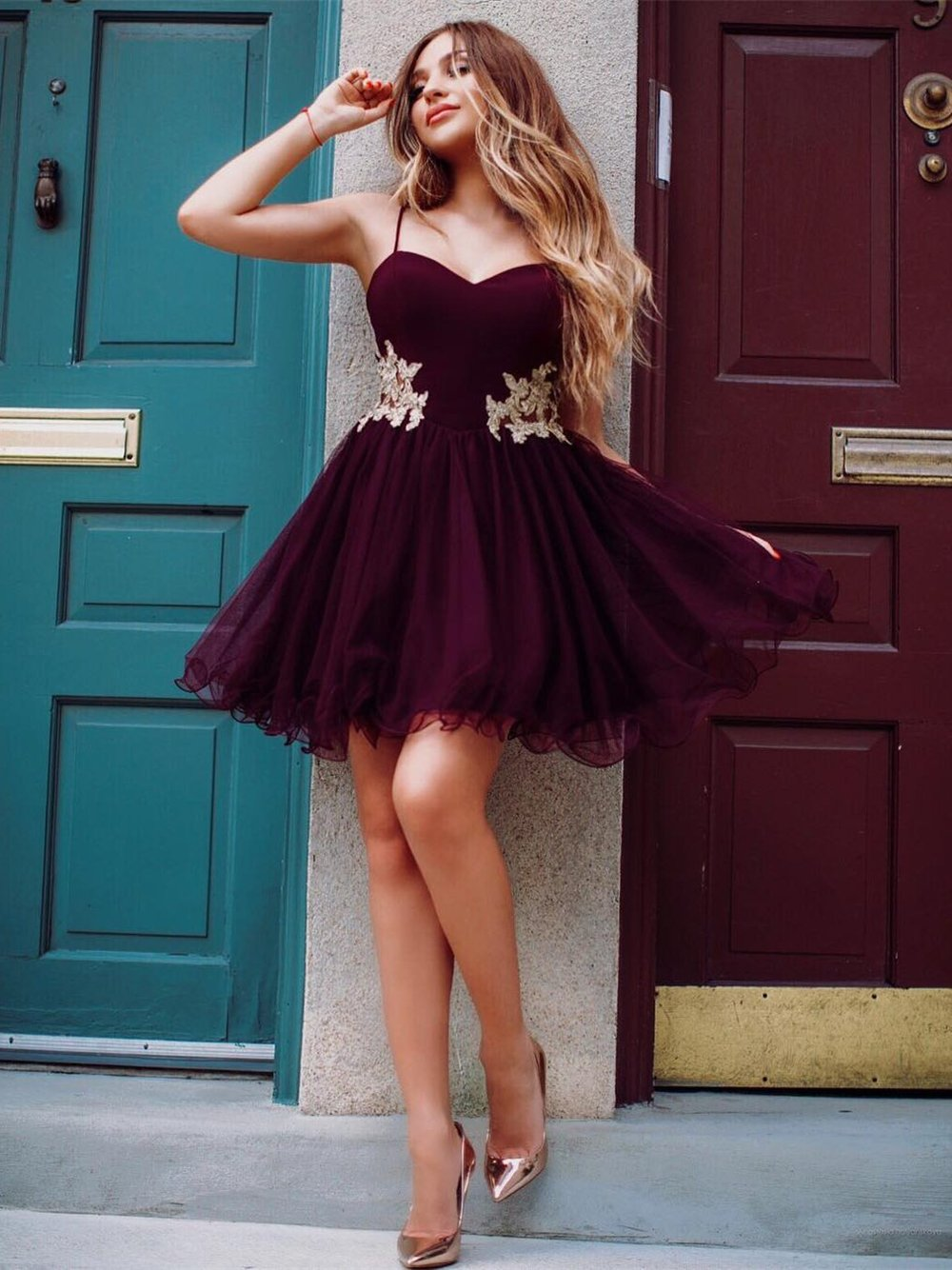 df60a403a0 Halter Burgundy Gold Lace Applique Short Homecoming Dresses Online ...