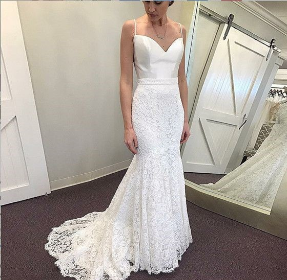 c4568467d29 Elegant Mermaid Lace Wedding Dress Sexy Spaghetti Straps Sweetheart Open  Back Sweep Train Bridal Gowns