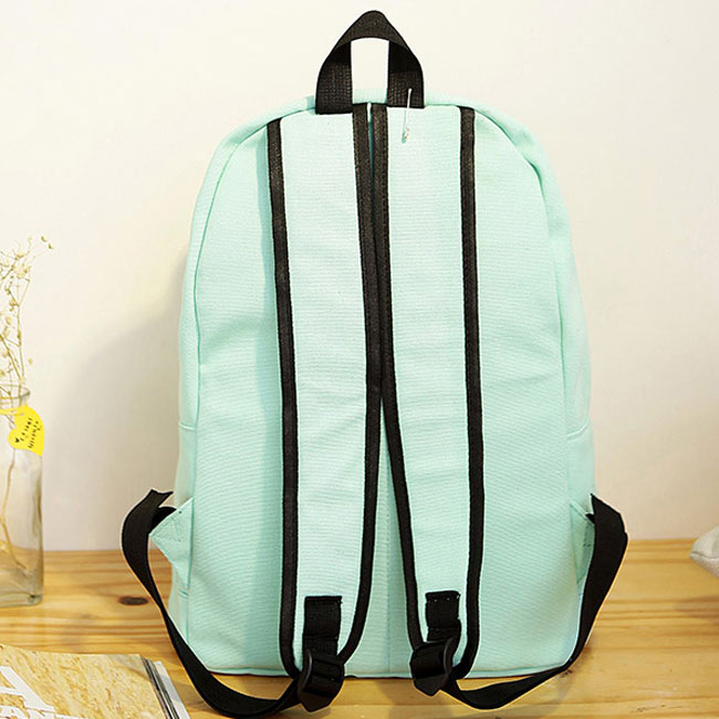 ee0952e479ff ... Simple Pure Color Solid Student Rucksack School Bag For Girl Canvas  Backpacks - Thumbnail 2 ...