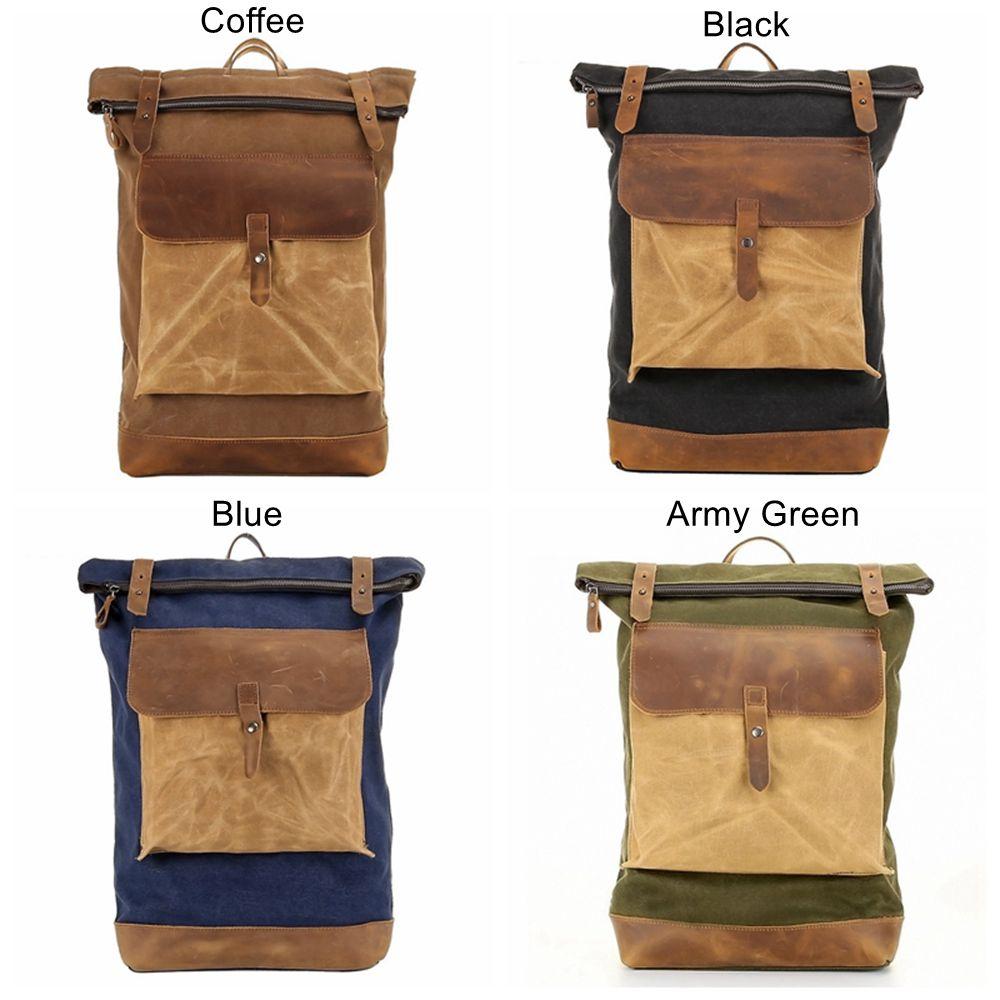 f186151eff ... Waterproof Waxed Canvas Travel Backpack