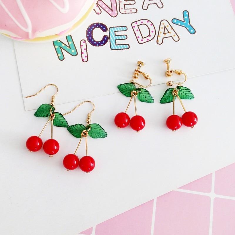 d91e7b973c85f7 kawaii acrylic red cherry dangle bead hook clip-on earrings gyaru ...