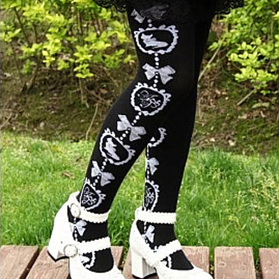 35c9f0742fb Black white cat bow lace print kawaii gothic lolita long over the knee high  socks gyaru