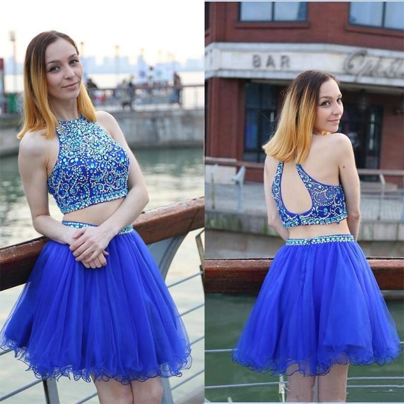 175721e529 2 Pieces Royal Blue Homecoming Dresses Open Back Short Beaded Prom Dress  Hoco Party Dress
