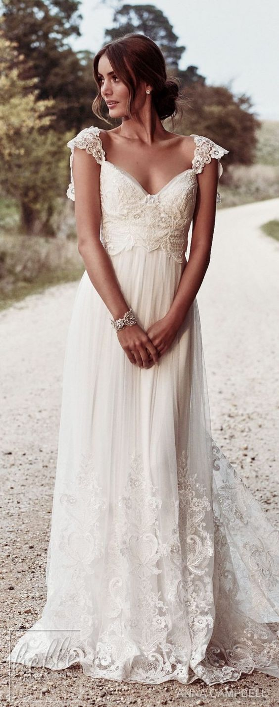 Boho Bohemian A Line Chiffon Wedding Dresses Cap Sleeve Lace Accents Big Bow Bridal Gowns From Misszhu Bridal