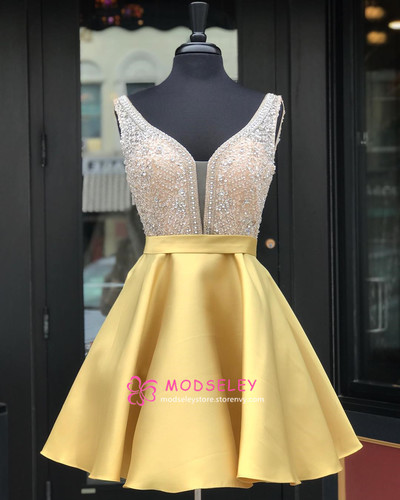 66d933b52df Beaded Short Yellow Homecoming Dress Party Dress · modseleystore ...