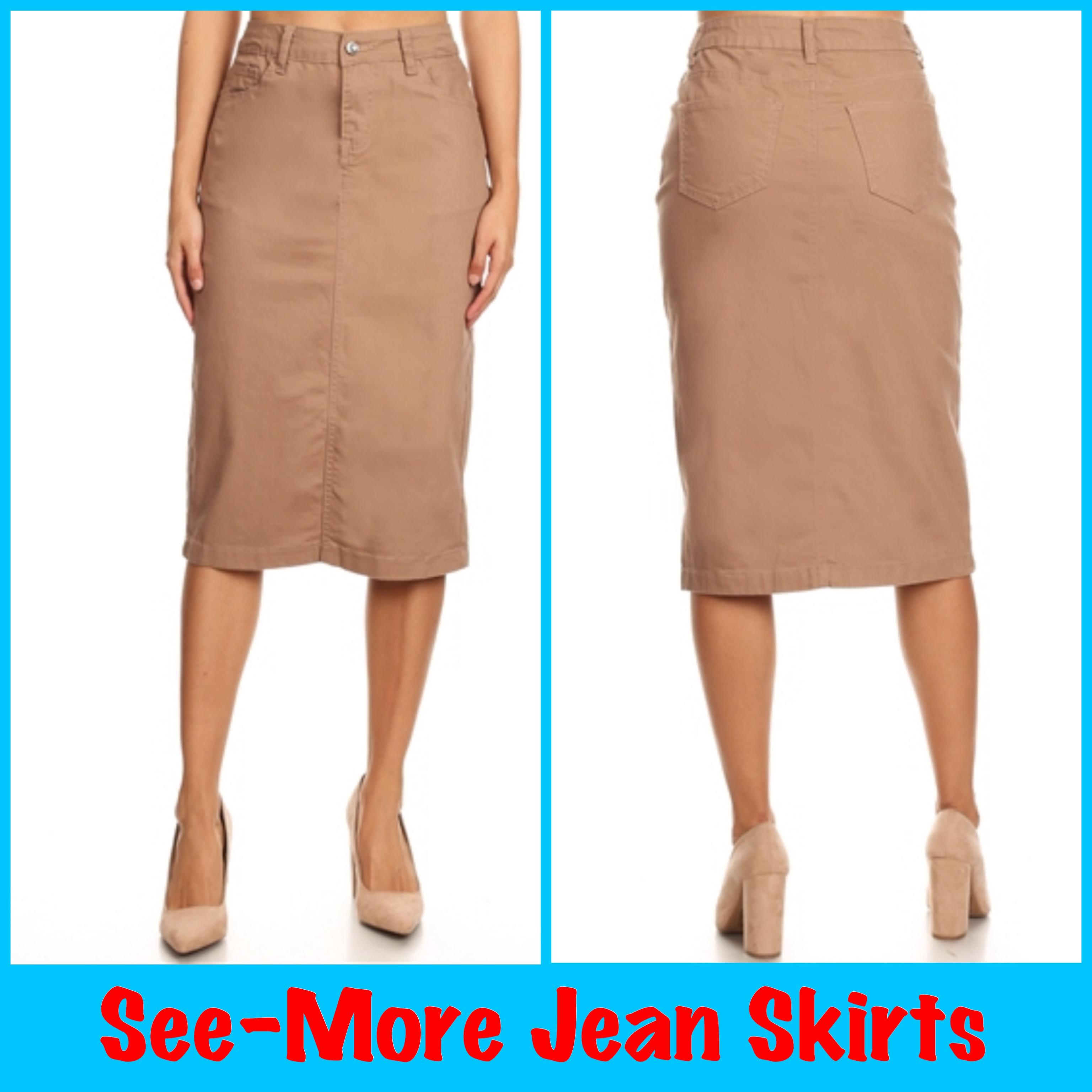 560cf50480 KENYA KHAKI MID LENGTH SKIRT · See-More Jean Skirts · Online Store ...
