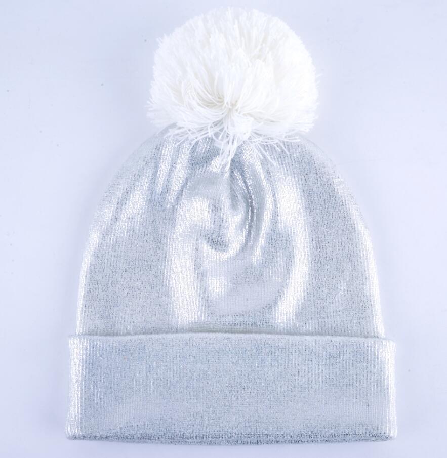 dcff1f6798b ... 2018 Autumn And Winter Beanies Women Fashion Sequins Knitted Wool Hat  Femal Flashing Skullies Girls Beanie