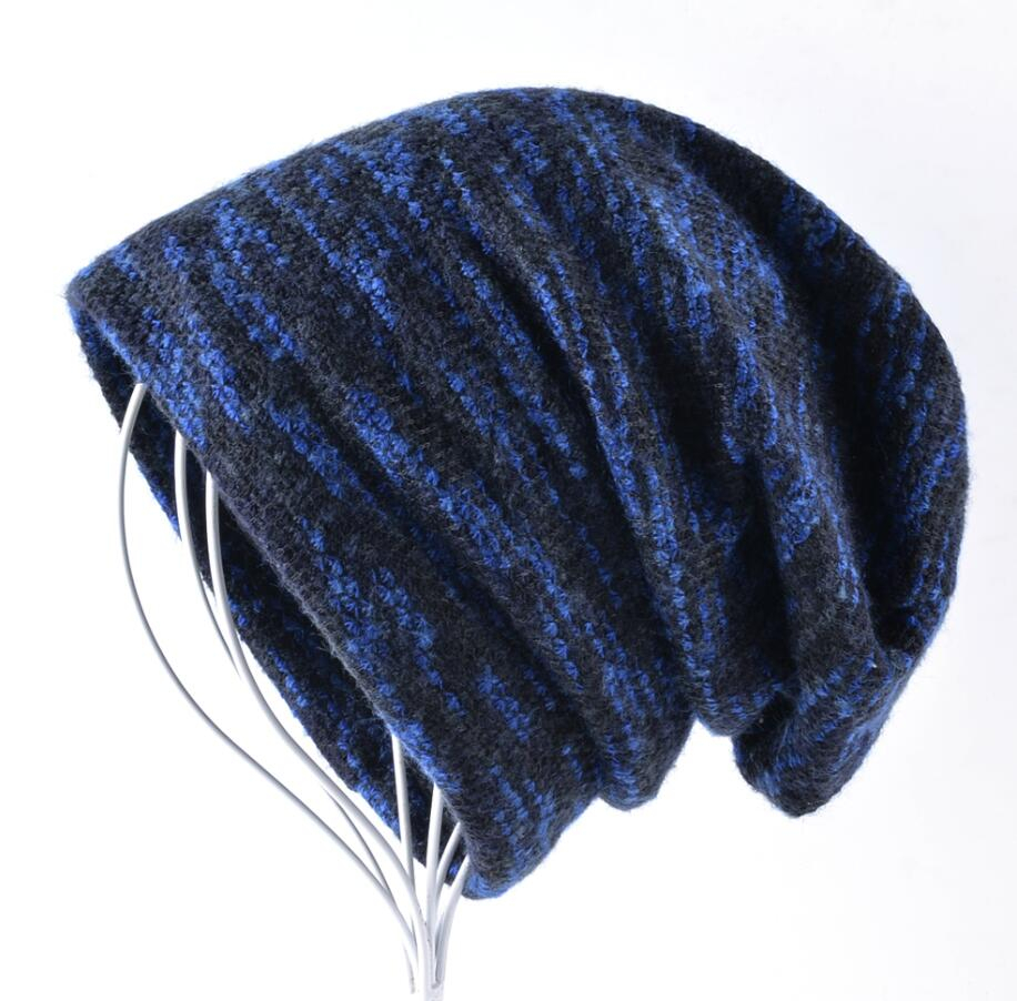 3e5d0fb171e28 Winter Unisex Knitted Wool Beanies Hat women Knit Colorful Striped Hip Hop  Bonnet Cap Men Casual