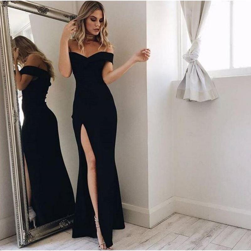6e2eb2f37b3 Hot Sale Colorful Prom Dresses Black Off-the-Shoulder Ankle-Length Black Split  Prom Dress Party Dress on Storenvy