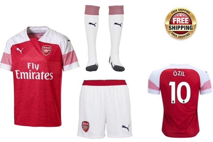 efbda20b033 Kids Young Ozil  10 Arsenal 2018-2019 Shirt red Home Jersey