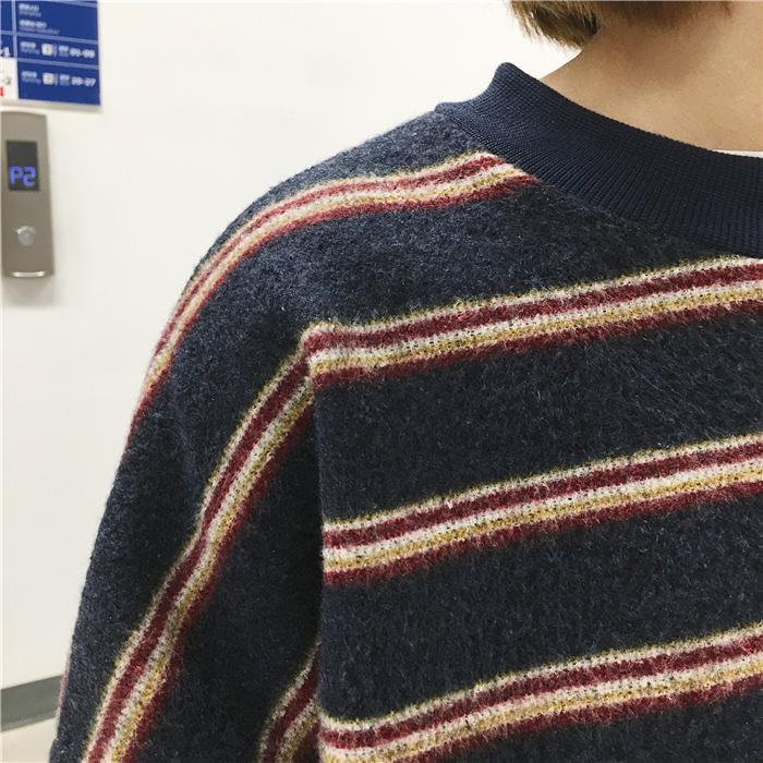 VINTAGE RETRO WOOL KNIT STRIPES OVERSIZED O,NECK SWEATERS from sionoe