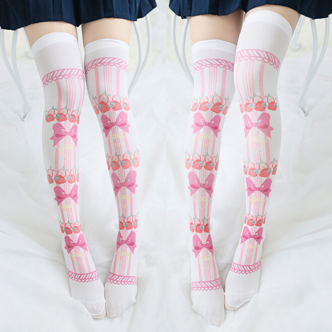 9d8b69299 Lolita Strawberry Bow Knee Thigh High Socks Stockings on Storenvy