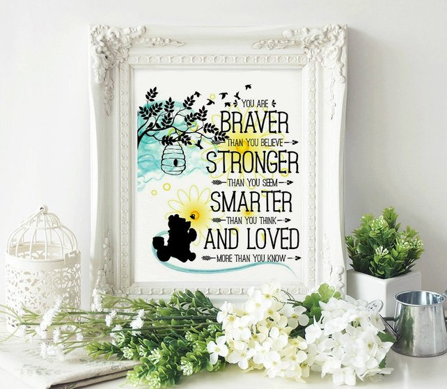Winnie The Pooh With Quote You Are Braver Then You Believe