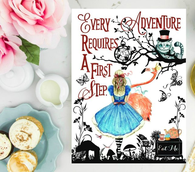 Watercolor Alice In Wonderland With Quote Every Adventure Requires A