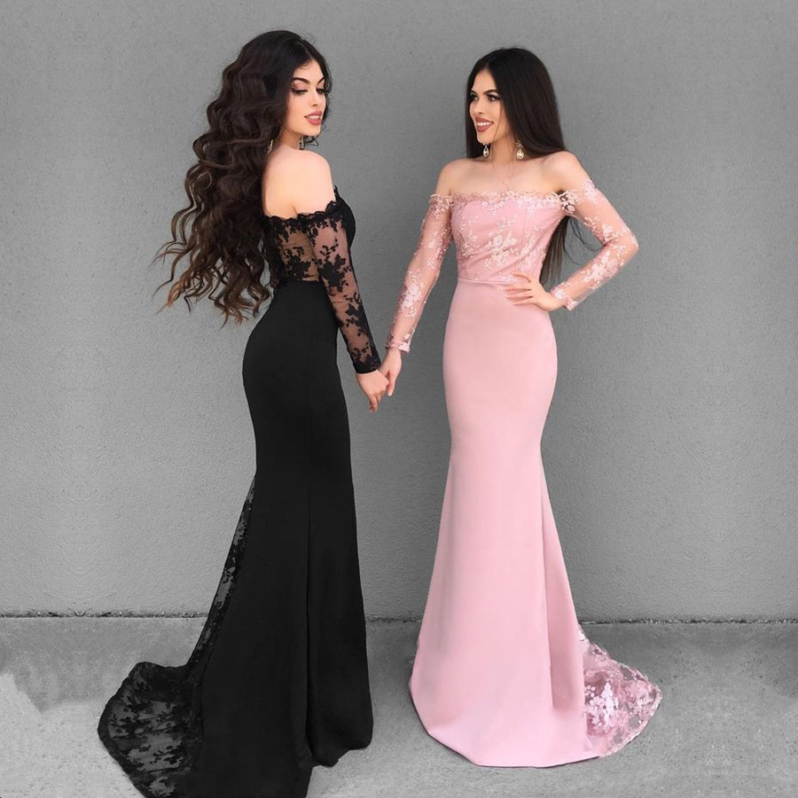 803a5c2e696f Black And Pink Mermaid Prom Dress Long Sleeves Lace Appliques Off Shoulder Elegant  Formal Evening Dresses