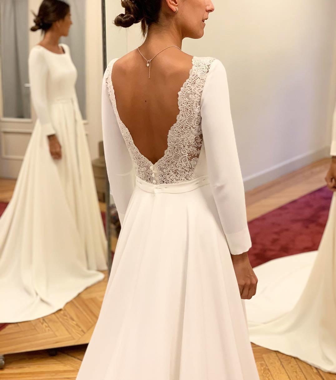 c1a975af8140 Ivory Lace Open Back Wedding Dress