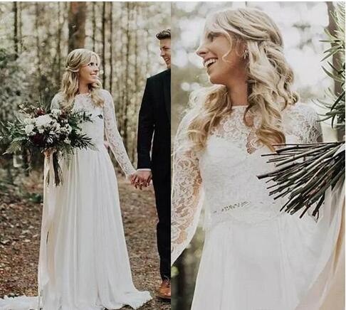 Vintage Country Style Spring Wedding Dresses Bridal Gowns Chiffon Garden Bohemian Illusion Lace Backless Long Sleeves Bridal Gowns From Wedding Store