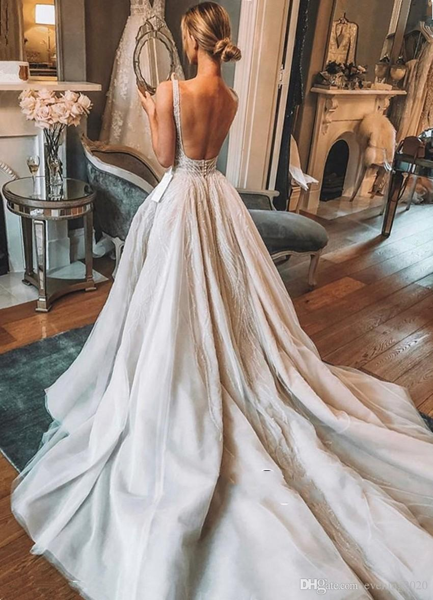 874eee0315e Chic V-Neck Sleeveless 2019 Wedding Dresses Overskirts Tulle Sequins Bridal  Gowns With Slit Charming ...