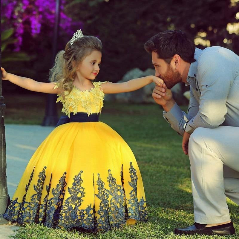 ce6a074a8 Bright Yellow Lace Appliques Flower Girl s Dress with Bow Sash on ...