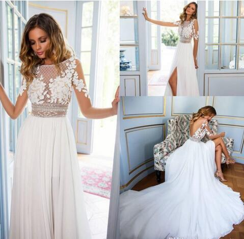 Stunning 2019 Beach Bohemian Wedding Dresses Sheer Long Sleeve Lace