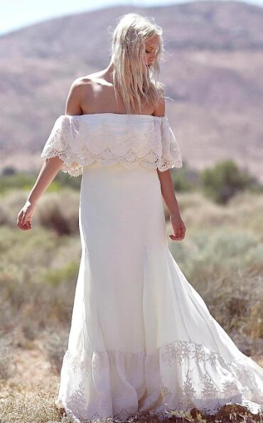 80003ca531a4 Simple Off the Shoulder Sexy Summer Bohemian Wedding Dresses 2019 Vestidos  De Noiva Lace Chiffon Long