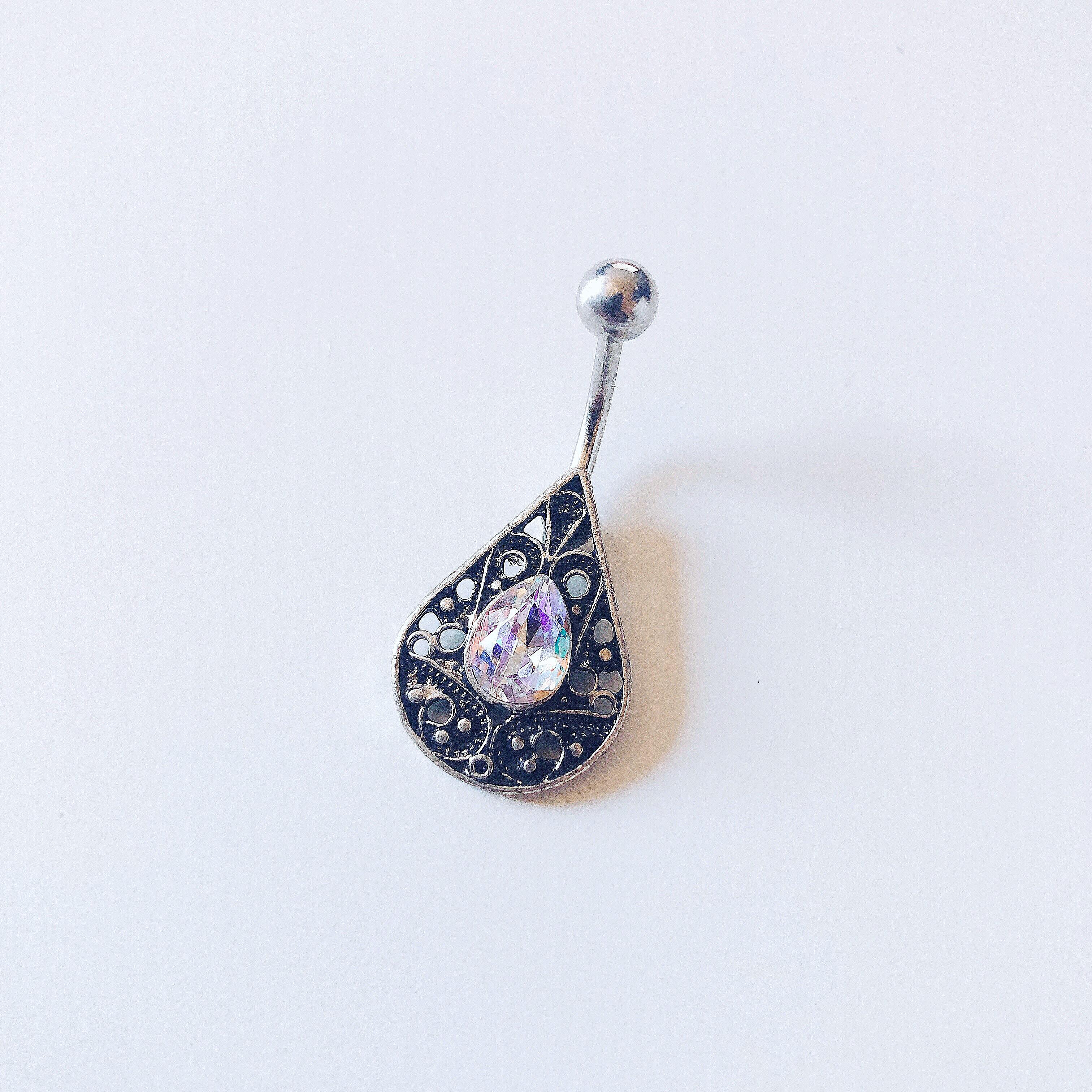 316L Stainless Steel Ornate Teardrop Navel Ring