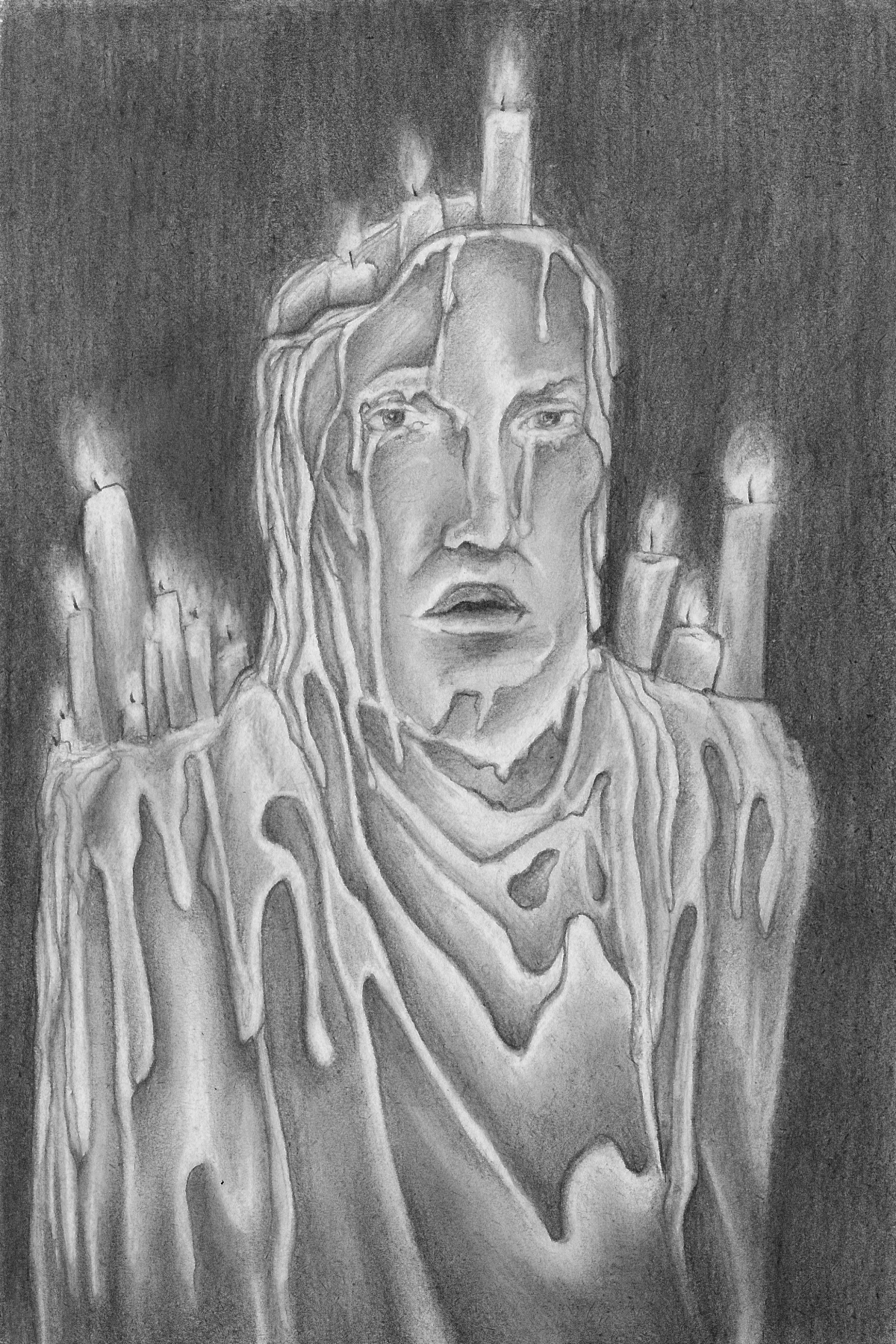 Ehizelloween candle pencil drawing print from sophie leigh ehizellbob