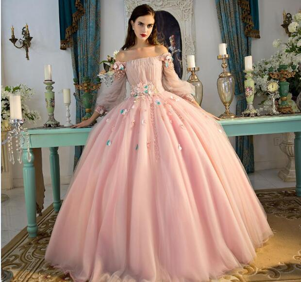 14d33c053571 Graceful Pink Ball Gown Prom Dresses Long Sleeve Lace Appliques Lace-up  Special Occasion Dresses