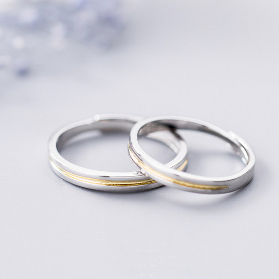 c8b4de01c4 ... Japanese style plain gilt simple 925 sterling silver opening couple  rings - Thumbnail 2 ...