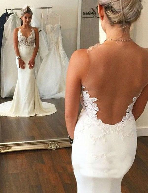 Sexy Sheer Back Lace Mermaid Wedding Dress Appliques Illusion Backless Summer Beach Wedding Dresses