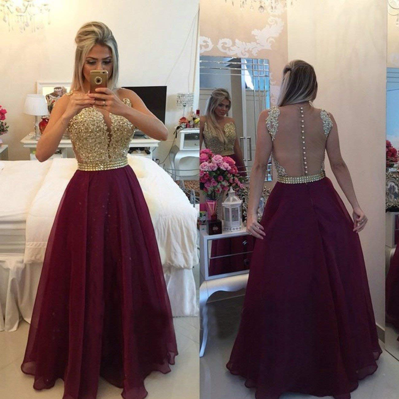a13c57a429 A-Line Straps Sleeveless See Through Back Lace Long Prom Evening ...