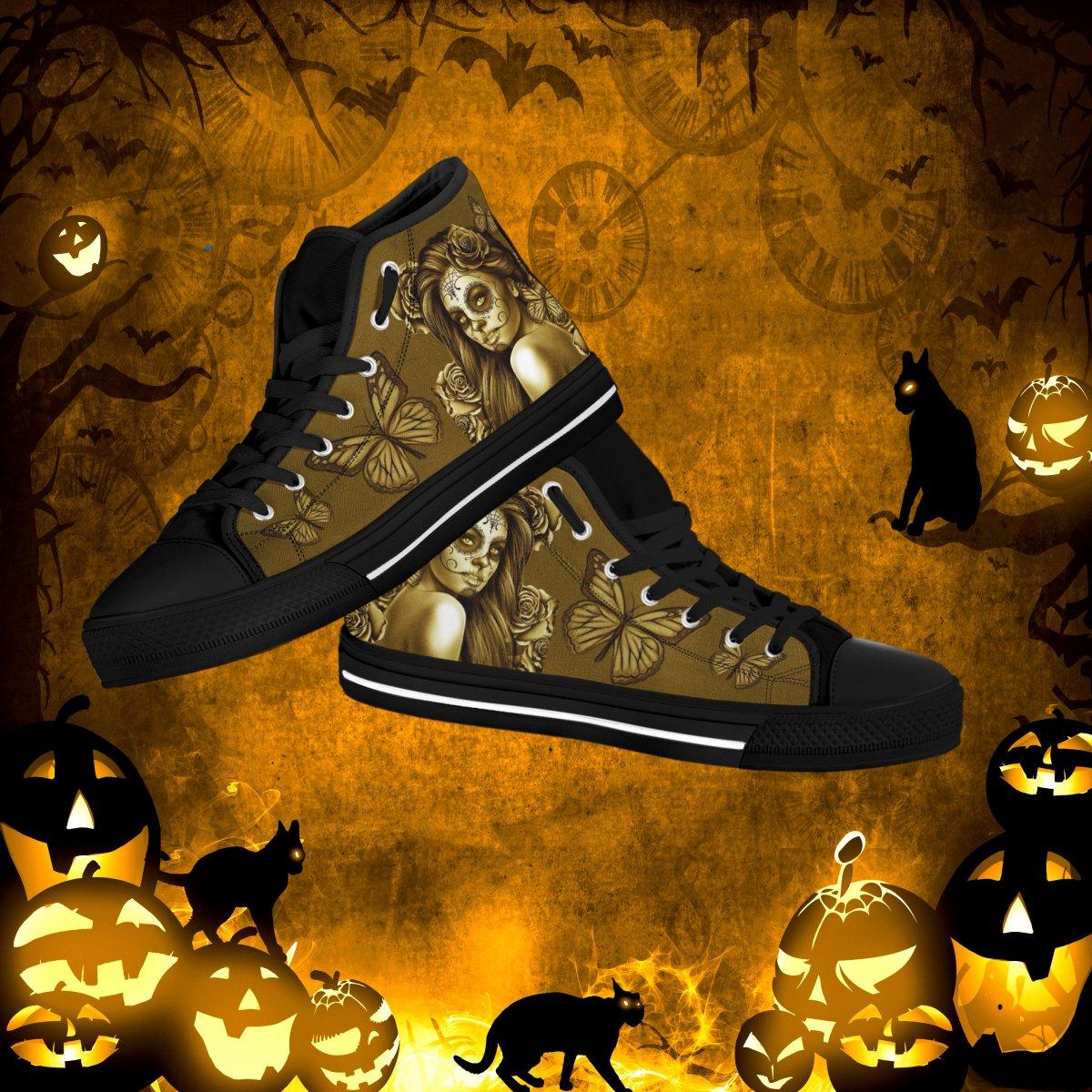 930c544ebe83 Calavera Women s High Top Canvas Shoes - Dia De Los Muertos (Day Of ...
