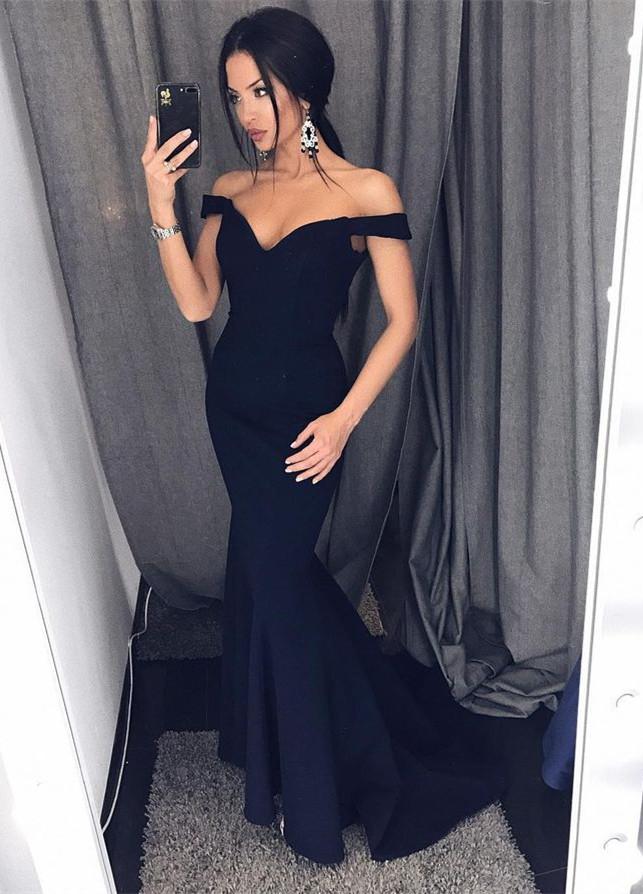 e261ad5a5e Sexy Mermaid Off-Shoulder Black Satin Long Prom Dress Evening Dress on  Storenvy