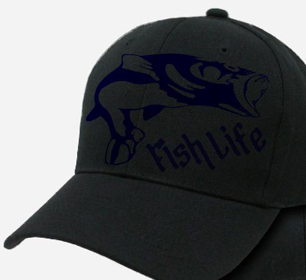 24c83dfc5ec15 Fish life bass fishing cap adjustable backing hat men and women hats ...