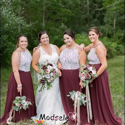 f7b1e2f074e Elegant burgundy chiffon long bridesmaid dress with white lace - Thumbnail 4