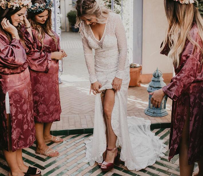 8c86a29a2c Romantic Boho Chic Wedding Dresses Sexy Deep V Neck Sheer Long ...