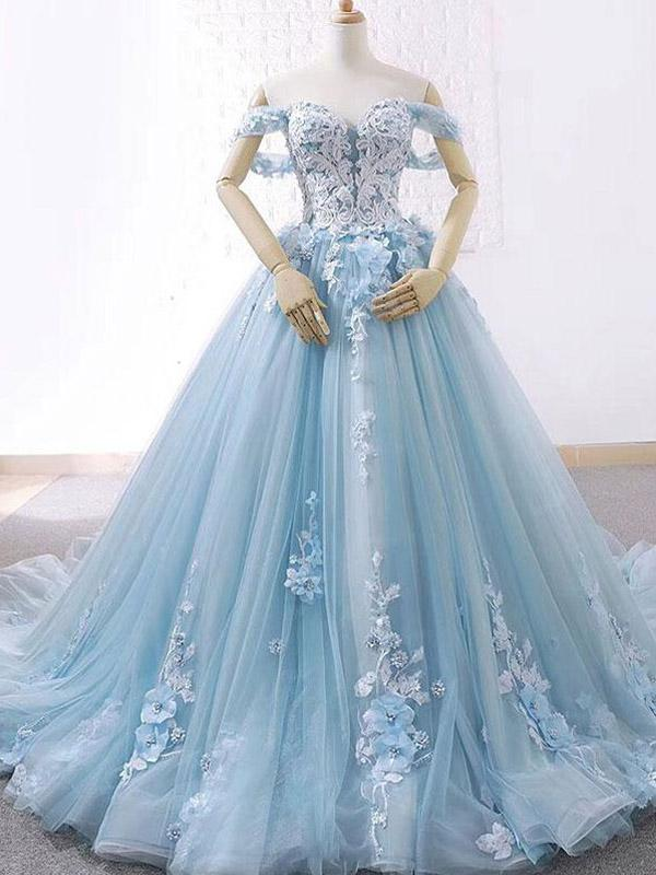 342bfb18312e Off Shoulder Tiffany Blue Lace Beaded A-line Long Evening Prom Dresses