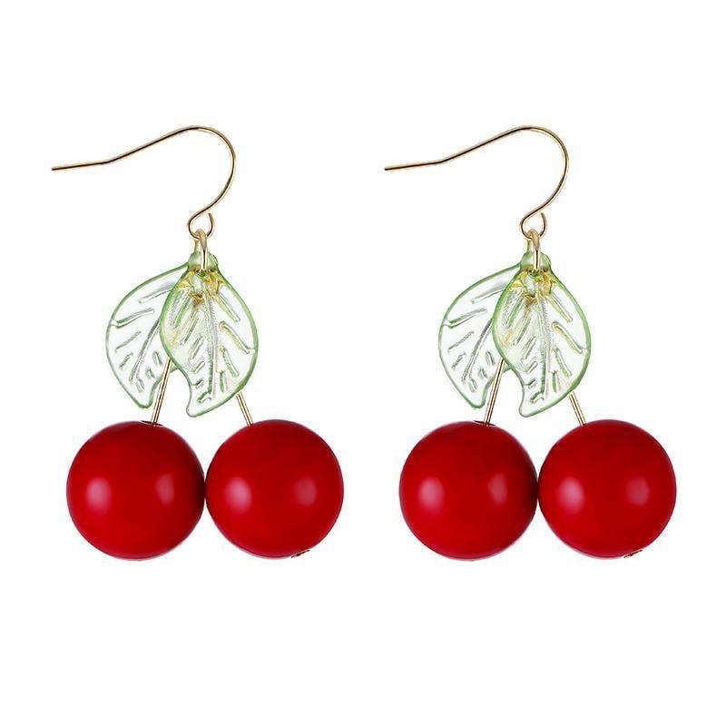 3b261389aeecf3 RED CHERRY LEAF CUTE EARRINGS · shopmeiding · Online Store Powered ...