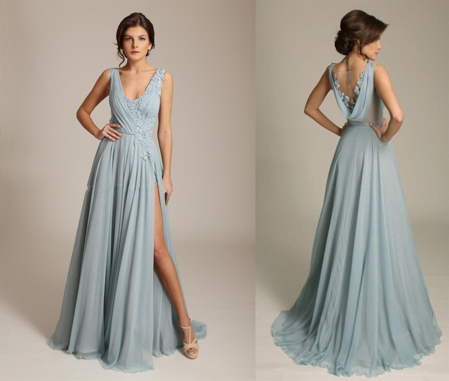 Cowl Back Bridesmaid Dress: Dusty Blue V Neck Chiffon Evening Gown With Side Split