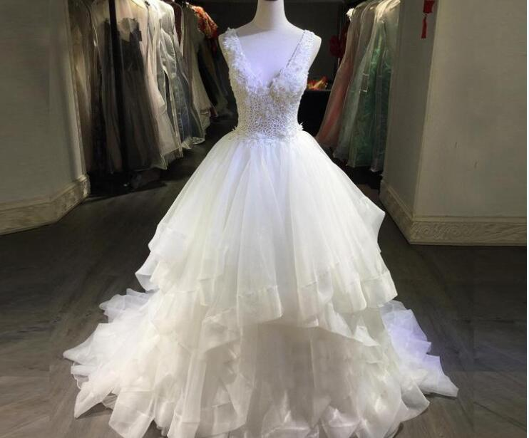Lace applique a line wedding dresses with sash sheer illusion long