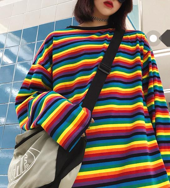 605d6f1b14 Harajuku Rainbow Striped Long Sleeve T-shirt on Storenvy