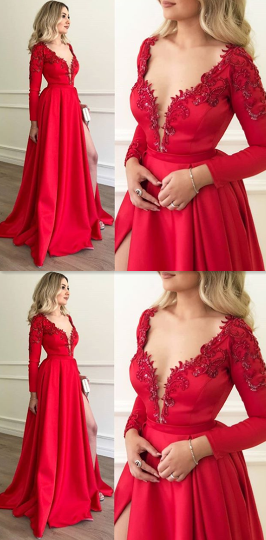 618154a42b7 Long Sleeve Red Ball Gown Prom Dress