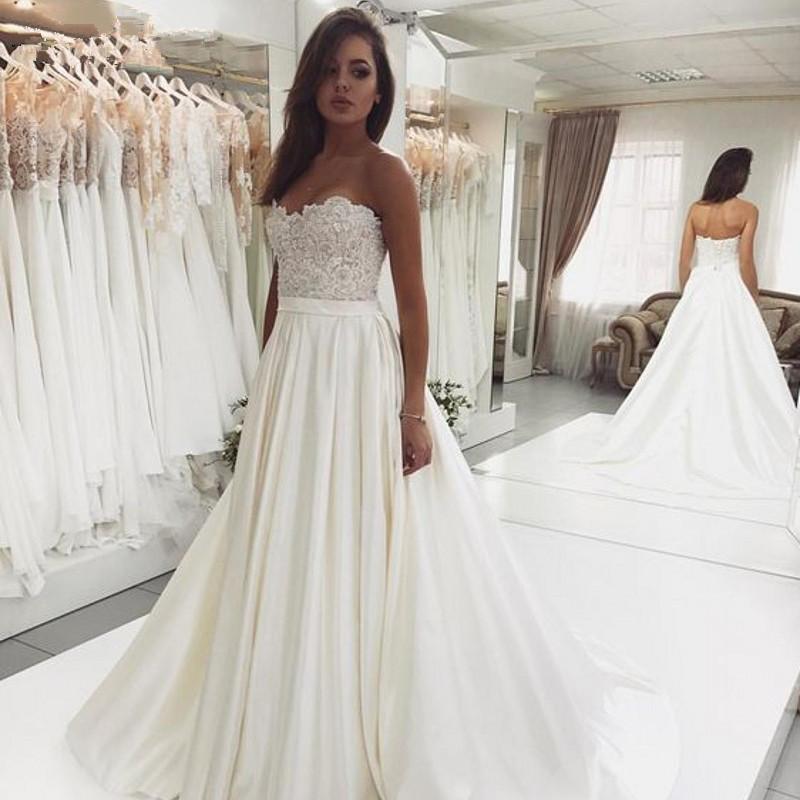 Sweetheart Wedding Dress.Wedding Dresses Sweetheart Wedding Dresses Top Lace Backless Wedding Dresses Ivory Bridal Dresses Elegant Wedding Party Dresses From Everbeauties