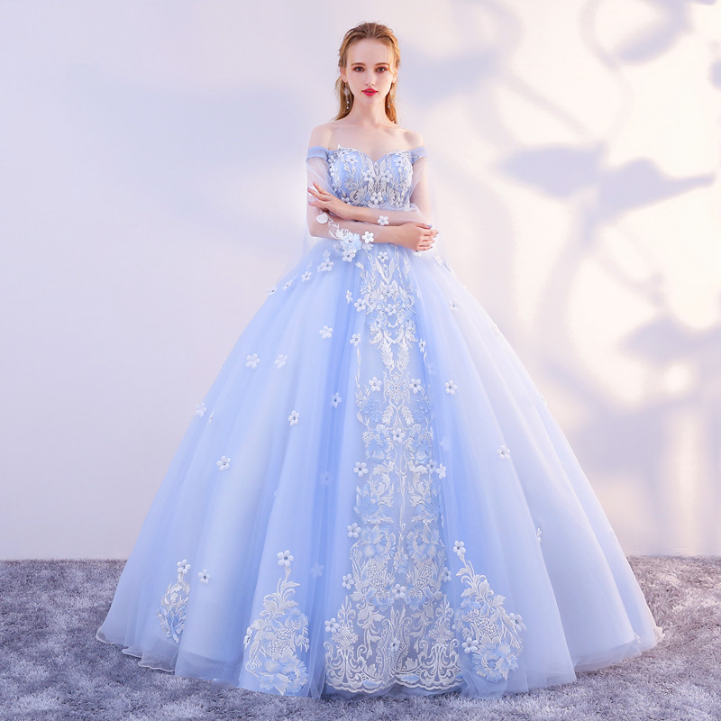 f8e7a6425da Newest Ball Gown Long Light Blue Princess Prom Dresses With Sleeves ...