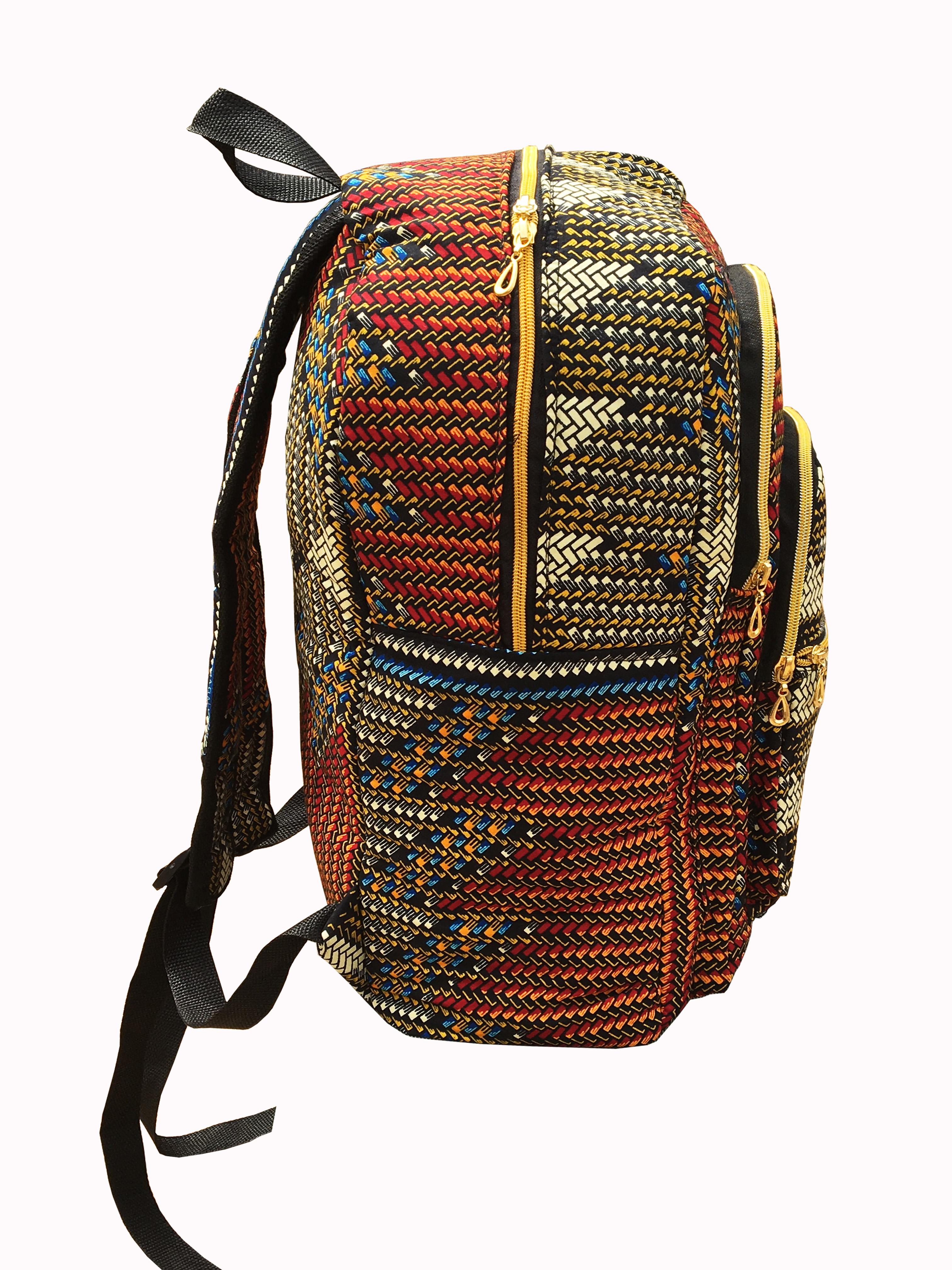 Ankara Wax African Print Book Bag Rucksack Handmade Backpack Handmade Bag 183 Ramsjay Designs