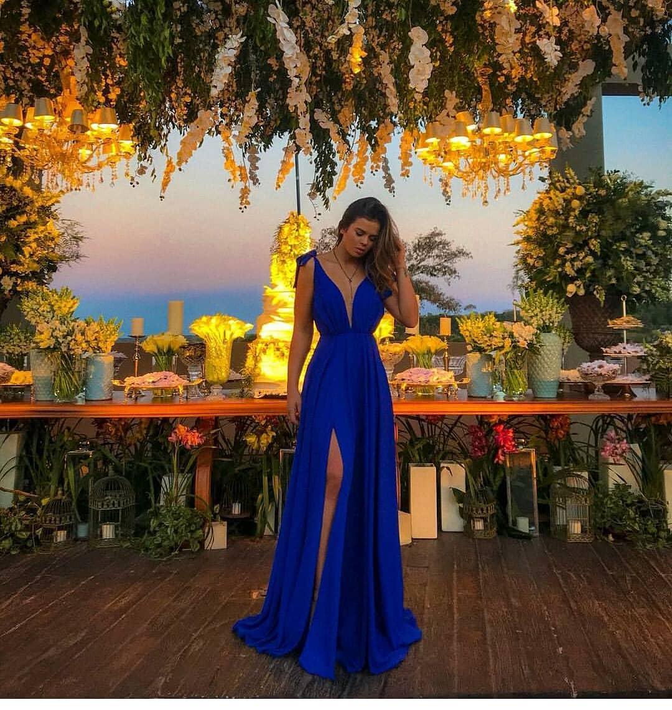 6d7db7a6e1a1 Royal Blue A Line Prom Dress Sexy Deep V Neck High Split Formal Evening  Dresses Sweep