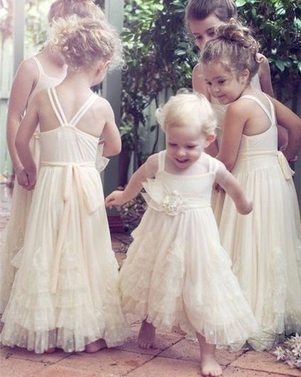 Pale Pink Floor Length Flower Girl Dresses With Handmade Flower